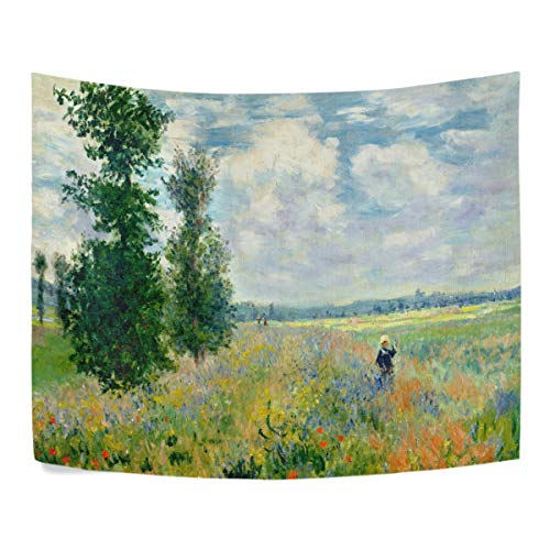 WIHVE Tapestry Monet's Poppy Field Argenteuil Wall Hanging Art Home Decor Polyester Tapestry for Living Room Bedroom Bathroom Kitchen Dorm 60 x 51 Inches