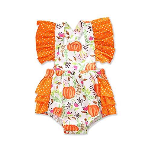 My First Thanksgiving Pumpkin Romper for Baby Girl, Cute Ruffle Newborn Baby Girl Bodysuit Jumpsuit (Orange, 12-18 Months) ()
