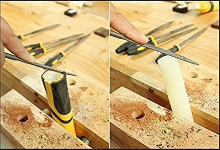 6 piezas metal cristal Juego de limas de madera con mango de goma para tallado de madera 140 mm 180 mm 160 mm