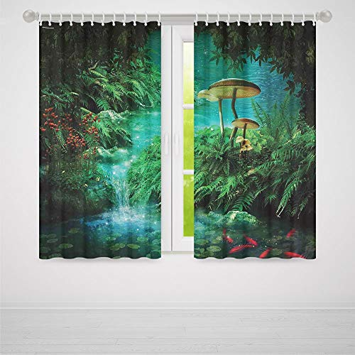 TecBillion Bedroom Curtains Blackout,Fantasy Decor for Living Room,View of Fantasy River with a Pond Fish and Mushroom in Jungle Trees Moss Eden,103Wx72L ()