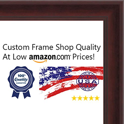 13.5x40 Contemporary Mahogany Wood Picture Panoramic Frame - UV Acrylic, Backing, & Hanging Hardware Included! by Poster Palooza