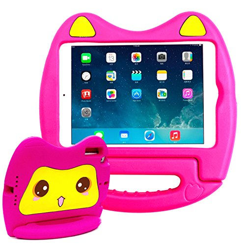 SIMPLEWAY iPad Mini 1 2 3 Case, Kids Friendly Lightweight Handle Convertible Stand Cover Compatible with Apple iPad Mini 1st 2nd 3rd Generation, Rose (Difference Between The Ipad Mini 3 And 4)