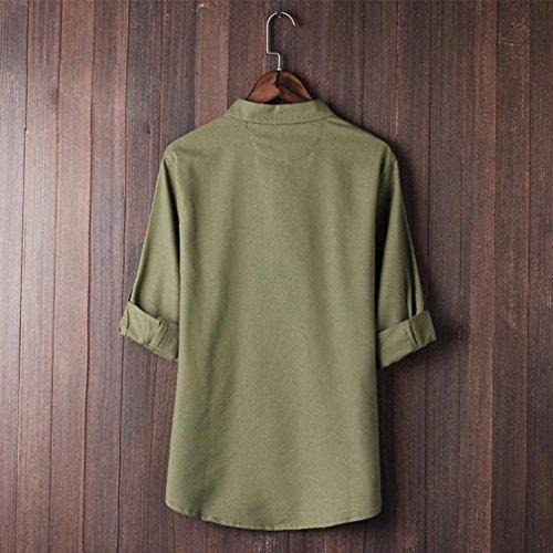 Suit Blouse Vert Unie Chemise Kung Couleur Rétro Deelin Tang 4 Hommes Manches Style Fu T Classique 3 Tops shirt Chinois B87Ha