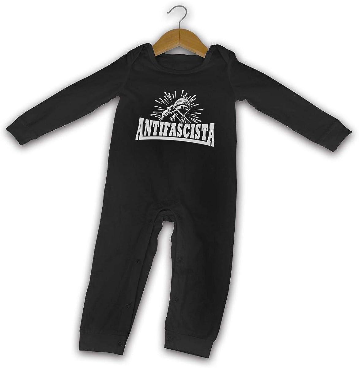 YELTY6F Antifascista Anti-Fascist Printed Boys Girls Jumpsuit Long Sleeve Pajamas Black