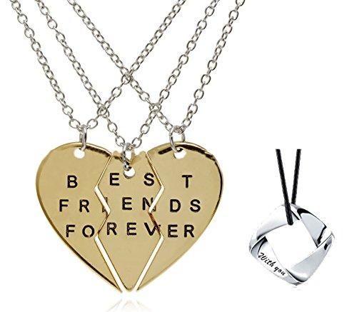 Rhinestone Bitch Choker - Jewelry Set of 3 Pieces BFF Best Bitches Split Heart Pendant Necklace,Best Bitches Necklace, Forever Valentine Heart Necklace (Gold)