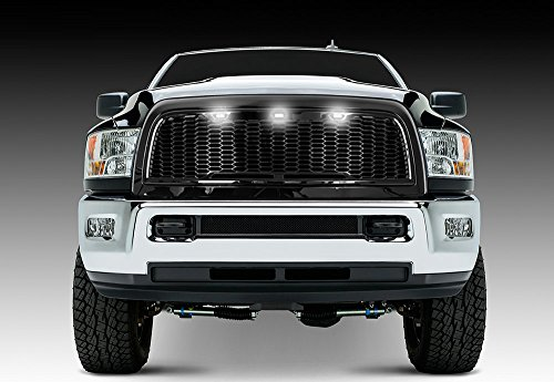 Razer Auto Gloss Black Hex Mesh Grille w/3x White LED Light Replacement Mesh Grille w/Shell for 2010-2018 Dodge RAM - Dodge 2011 3500 Grille