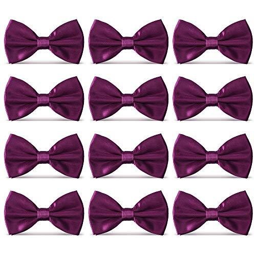 (AVANTMEN Men's Bowties Formal Satin Solid - 12 Pack Bow Ties Pre-tied Adjustable Ties for Men Many Colors Option)