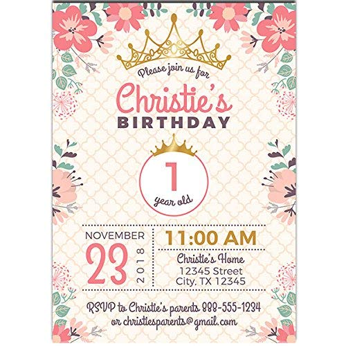 Flower Princess First Birthday Party Invitations -