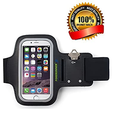 Forerunner Sportband+ iPhone 6 Sports Workout Armband for Running with Additional Ports for Earphone-free Listening for 8-14 inch Arms