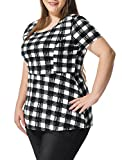 uxcell Women's Plus Size Short Sleeves Checked Peplum Top Black White 2X