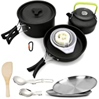 Bisgear 1.95 Liter (Pot+ Kettle) 18/8 Plates Outdoor Camping Cookware Mess Kit Set Complete Backpacking Gear Campfire…