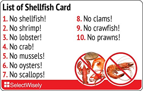 List of Shellfish Allergy Translation Card - Translated in Italian or any of 52 languages by SelectWisely