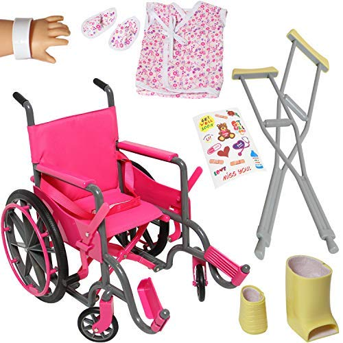 Doll Wheelchair Set with Accessories for 18 Inch Dolls Like American Girl Dolls + Bonus Accessories by The New York Doll Collection