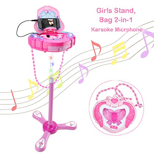 WISHTIME Kids Karaoke Microphone Musical Toys Kids Pink Karaoke Adjustable...