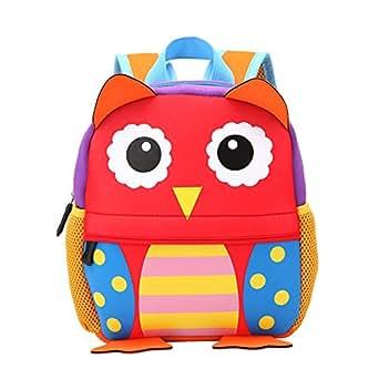Kid Backpack,Waterproof Toddler Backpack 3D Cartoon Pre School Kids Cute Animal Bag Lunch Bag Book Bag Sidesick Bags(owl)