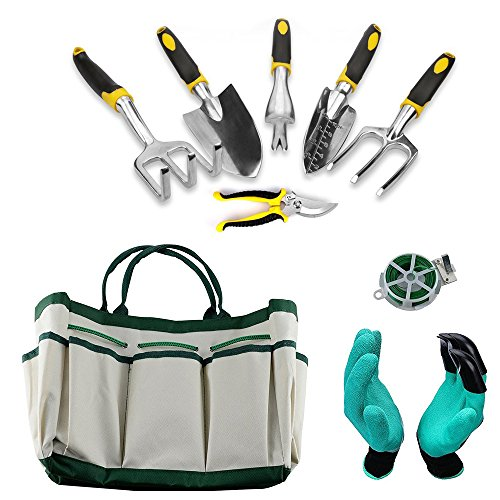 KEDA Garden Tool Set, 9 PCS gardening Tool Set for Digging Planting with Storage Organizer Tote, Garden Gloves Shove, Plant Tie, Ergonomic Gardening Gifts Tool Set for Women Men Adults by KEDA