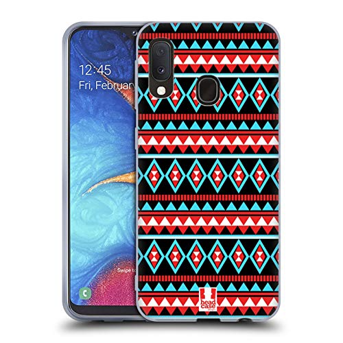 Head Case Designs Red and Blue Aztec Patterns S2 Soft Gel Case Compatible for Samsung Galaxy A20e (2019) (Galaxy Aztec Samsung Case S2)