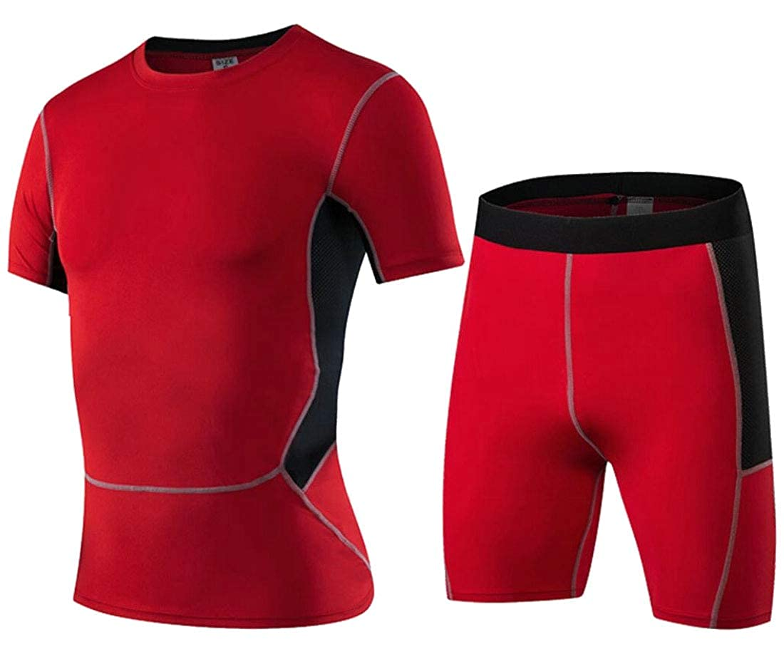 Mens 2 Piece Quick Drying Short-Sleeve Elastic Waist Top Shorts Tracksuits