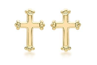 daac8b9c535 Carissima Gold 9ct Yellow Gold Cross Stud Earrings