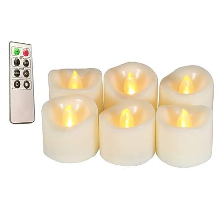 Erosway Velas LED, Velas eléctricas realistas parpadeantes con Pilas, 300 Horas de Funcionamiento sin interrupción con Temporizador de 2/4/6/8 Horas y ...