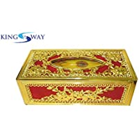 Kingsway kkmtsbxrdgl00001 Classic Royal/Castle Tissue Paper Napkin Holder Box for Cars, Offices and Homes (Red-Golden)