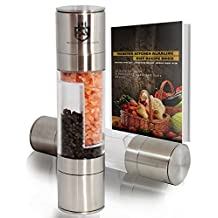 Manual Salt and Pepper Grinders Set 2in1- Salt grinder and Pepper grinders Mill and Shaker Set with Stainless Steel - Clear Acrylic Body and Ceramic Grinding mechanism by Monster Kitchen. Get a Recipe ebook as Gift. Savor the flavor of freshly ground spices NOW.