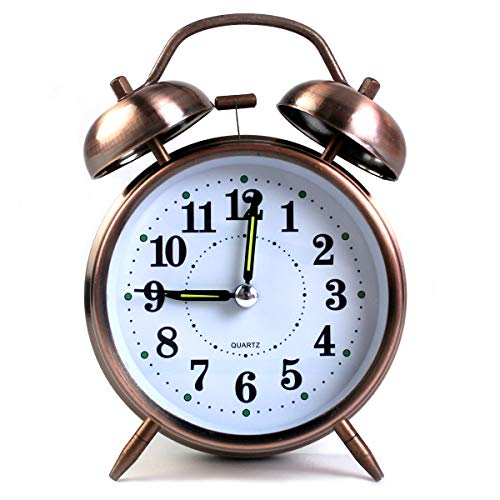 TOHOOYO Metal Frame Bell Alarm Clock 4 Inch Battery Operated Quarzt Alarm Clock (Red-Brown)