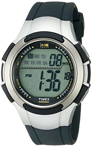 Timex Men's T5K239 1440 Digital Silver-Tone Resin Watch with Navy Band