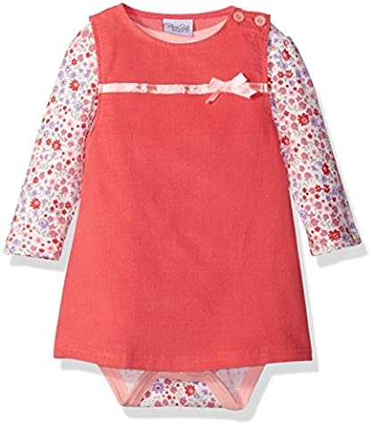 Rene Rofe Baby Baby Girls' 2 Piece Corduroy Jumper Set with Lap Shoulder Longsleeve Bodysuit, Coral Flowers, 12 - Corduroy Jumper Dress Set