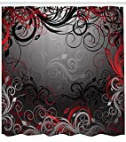 Red and Black Shower Curtain Red and Black Shower Curtain by Ambesonne, Mystic Magical Forest Inspired Floral Swirls Leaves Nature Artwork, Fabric Bathroom Decor Set with Hooks, 70 Inches, Charcoal Grey Ruby