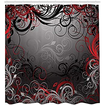 Red And Black Shower Curtain By Ambesonne Mystic Magical Forest Inspired Floral Swirls Leaves Nature
