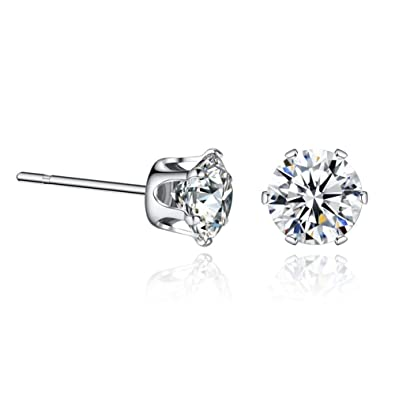 2704c883e Sterling Silver Swarovski Cubic Zirconia Stud Earrings Sensitive Ears 3mm.