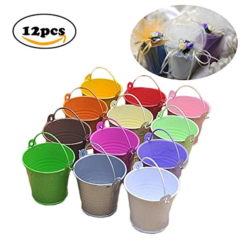 Fairy Candy Box - Dproptel All-in-1 Mini Metal Bucket Candy Favours Box Pail Wedding Party Gift/Serving Bucket, Chip Bucket, Condiment Packet Holder, Ash Tray Bucket (Multicolor)