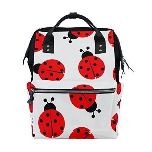 - DEYYA Ladybug Diaper Bag Backpack Large Capacity Travel Back Pack Nappy Bags Organizer Multi-Function Baby Bags for Mom
