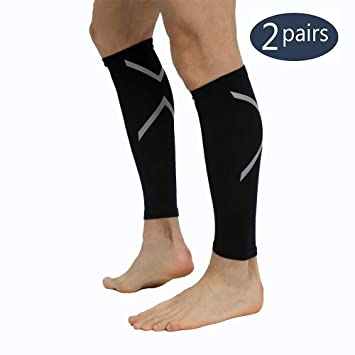 944a30c184 2 Pack Black Compression Stocking Sleeve Calves Compression Socks Womens  Plus Size Men 20-30mmhg