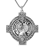 Fraser (Lovat) Scottish Clan Crest Celtic Cross Pendant CLP04 - Sterling Silver
