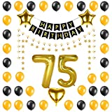 Arts & Crafts : PALASASA Birthday Party Decorations Kit-Happy Birthday Banner,Gold 75 Foil Balloon, Five star and heart balloon, Latex Balloon,Five star banner, Perfect Party Supplies (75 Years Old)