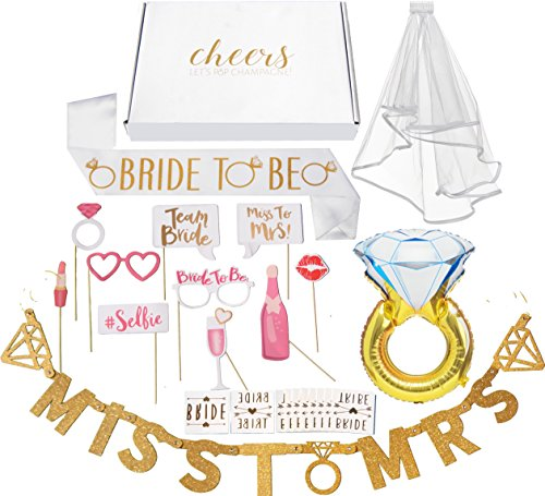 Bachelorette Party Decorations Kit // Bridal Shower Supplies with Cheers Gift Box: Veil & Bride-To-Be Sash, Bride Tribe Tattoos, Diamond Ring Balloon, Photo Booth Props & Miss to Mrs. Banner (Miss Photo)