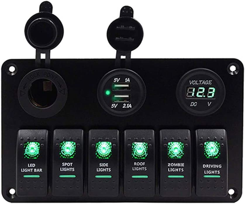 Marine Boat 6 8 Gang Rocker Switch Panel with Circuit Breaker Toggle Switches Waterproof 12V Green LED Cigarette Socket Panel with Digital Voltmeter Display 3.1A Dual USB Charger for Car Rv Truck