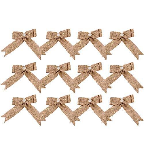 junxia Holiday Party Trends Set Mini Burlap Christmas Tree Bow Set Red/Gold Foil Tie 12PCS