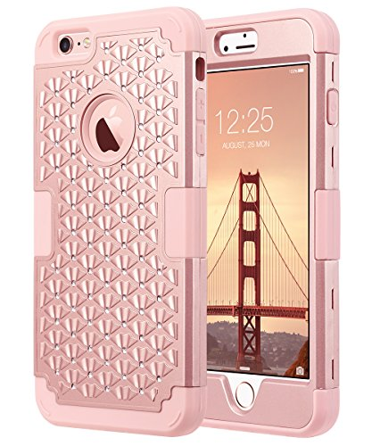 iPhone 6 Plus Case, iPhone 6S Plus Case Glitter, ULAK 3D Bling Rhinestone Heavy Duty Shockproof Hybrid Hard PC Soft Silicone Rubber Protective Case for iPhone 6 Plus / iPhone 6s Plus 5.5inch-Rose (Pink Hard Rubber)