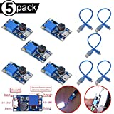 DAOKI 5PCS Boost Converter MT3608 DC-DC 2V-24V to 5V-28V 2A Micro USB DC Voltage Regulator Step Up Power Supply Module for Ardunio with Micro USB Cable