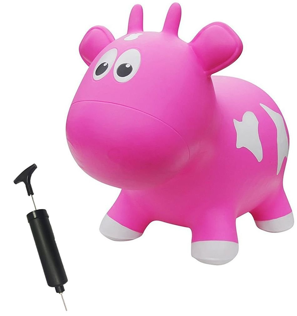 Farm Hoppers Award Winning Inflatable Toddler Safe Bouncing Pink Cow Plus Pump by Farm Hoppers