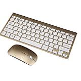 AENMIL Ultra Thin Wireless Keyboard + Mouse Combo, Portable 2.4G Whisper-quiet Compact Computer Accessories For Tablet Laptop Desktop Intelligent Televisions - Gold