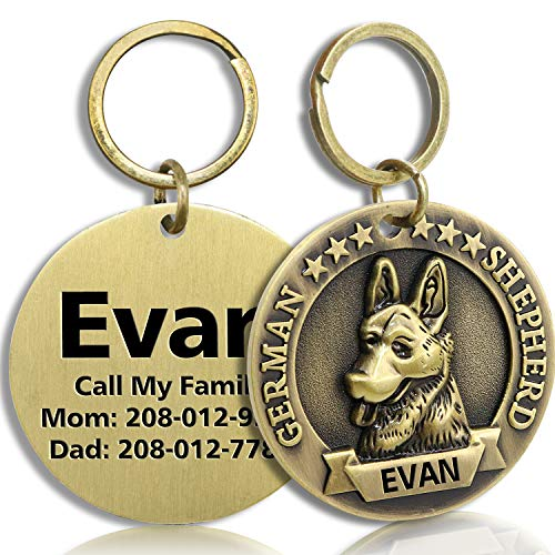 FunTags Bronze Breeds Customized Dog Head 3D Effect Dog ID Tag,High-Relief Copper Dog Tag,Personalized Stainless Steel Front&Back Laser Engraving Dog Name Tag,German Shepherd Tag