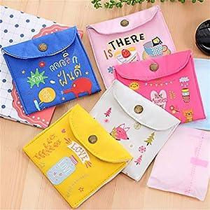 "ZHU YU CHUN 5 Pcs Cute Napkins Bag, Sanitary Napkins Bag Nursing Pad Organizer Pouch Holder, 5 x 4.5"""