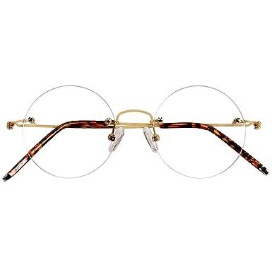 2549ccb39d27 Agstum Customize Prescription Glasses - Pure Titanium Round Prescription Rimless  Glasses Frame 46mm