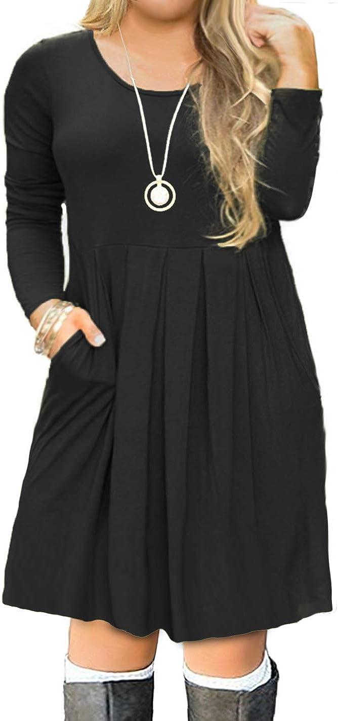 PLUS SIZE Womens BLACK BLUE BROWN TEAL WINE 3//4 SLEEVE POCKETS DRESS 1X 2X 3X