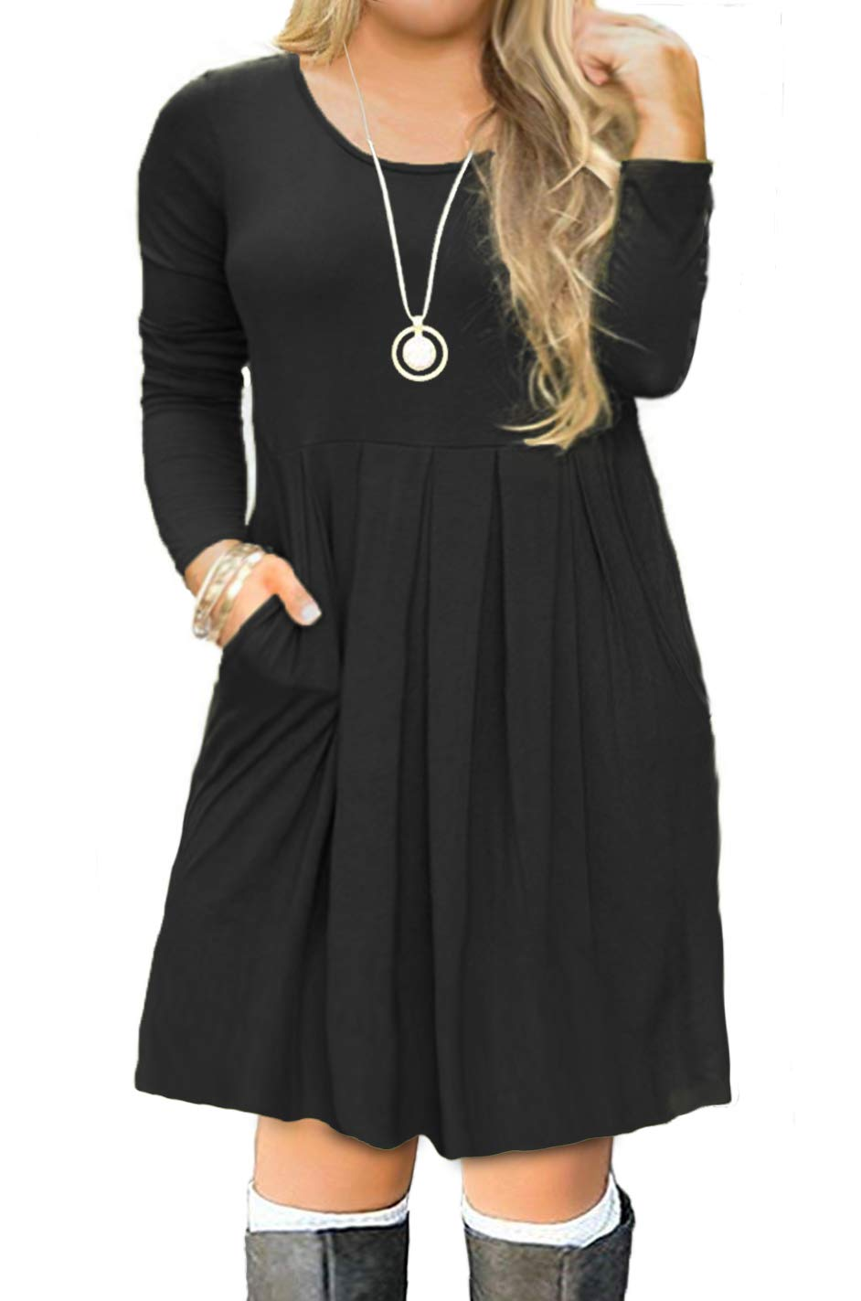 FOLUNSI Women's Plus Size Long Sleeve Pockets Pleated Loose Swing Casual Short T Shirt Dress Black 2XL