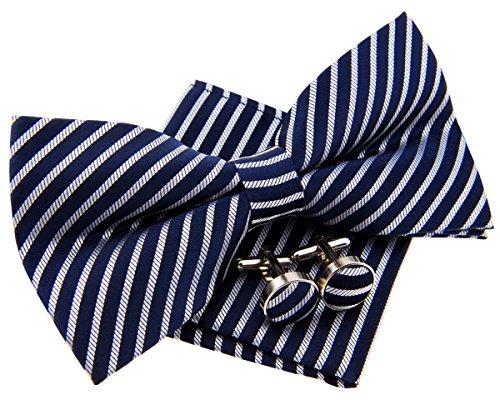 Retreez Modern Stripe Woven Microfiber Pre-tied Bow Tie (Width: 5